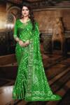 Green color art silk bandhani saree with zari weaving border
