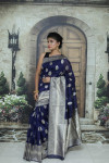 Navy blue color soft cotton silk weaving work saree