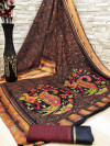 coffee color soft cotton kalamkari print saree with mirror work