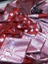Red color soft banarasi silk saree with rich pallu