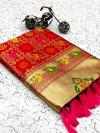 Red color soft banarasi silk saree with golden zari work