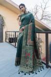Dark green color pure tussar silk saree with zari border & pallu