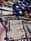 Royal blue color soft banarasi saree with weaving golden  zari border