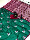 Rama green color lichi silk saree wit silver zari weaving work