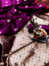 Magenta color lichi silk saree  with Minakari Work & Jari Butti