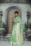Green color soft cotton silk weaving work saree