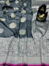 Gray color banarasi silk saree with jacquard weaving rich pallu