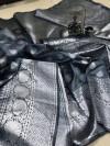 Gray color soft banarasi silk saree with rich pallu