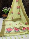 Pista green color pure linen weaving saree with zari woven border & pallu