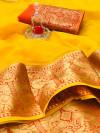 Mustard yellow color kota doriya silk saree