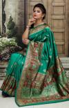 Rama green color Soft & Pure Banarasi silk saree With Rich Weaving Pallu