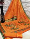 Orange color soft cotton kalamkari print saree with mirror work