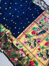 Navy blue color paithani pure silk saree with zari work
