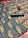 Gray color soft banarasi silk saree with meenakari design & golden zari weaving work