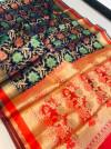 Navy blue color banarasi patola saree with contrast zari weaving pallu