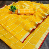 Yellow color kota doriya silk saree with checks pattern