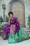 Purple color soft paithani silk saree with weaving rich pallu
