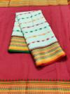 Sea green color drape kota doriya saree with jacquard border & thread butti