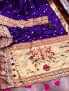 Violet color paithani silk saree with full stitching pallu & border