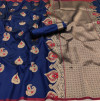 Navy blue color lichi silk saree with zari weaving work & extra ordinary design