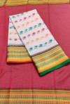 Baby pink color drape kota doriya saree with jacquard border & thread butti