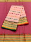 Peach color drape kota doriya saree with jacquard border & thread butti