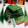 Green color banarasi jacquard silk saree with beautiful tassel work