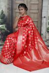 Red color kanchipuram silk handloom saree with zari work