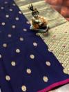 Navy Blue color lichi silk saree  with Minakari Work & Jari Butti