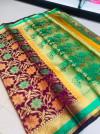 Magenta color banarasi patola saree with contrast zari weaving pallu