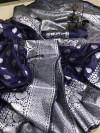Navy blue color soft banarasi silk saree with rich pallu