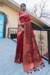 Red color pure tussar silk saree with zari border & pallu
