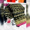 Black color Banarasi jacquard silk saree with beautiful tassel work