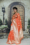 Orange color soft cotton silk weaving work saree
