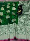 Green color banarasi silk saree with jacquard weaving rich pallu