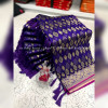 Purple color banarasi jacquard silk saree with beautiful tassel work