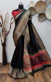 Black color raw silk weaving saree with temple woven border