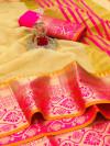 Yellow color kota doriya silk saree