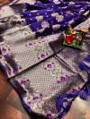 Purple color soft banarasi saree with weaving golden  zari border