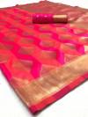 Pink color Soft Banarasi silk weaving work saree