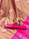 Peach color lichi silk twotone saree with meenakari & silver zari weaving work