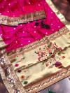 Pink color pure kanchipuram paithani silk saree with full stitching pallu & border