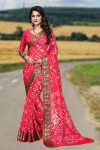 Gajari color art silk bandhani saree with zari weaving border