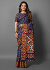 Navy blue color cotton silk saree with printed work