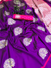 Lichi silk jacquard weaving saree with rich pallu