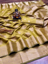 Mehndi green color cotton saree with designer golden zari weaving work