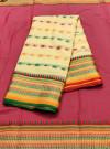 Yellow color drape kota doriya saree with jacquard border & thread butti