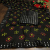 Black color georgette bandhani saree with border work