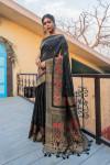 Black color pure tussar silk saree with zari border & pallu