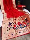 Red color banarasi soft silk paithani saree with zari border & exclusive zari pallu